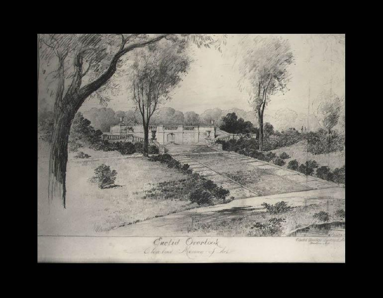 """""""Euclid Overlook, Cleveland Museum of Art"""" conceptual drawing, 1926. Courtesy of the National Park Service, Frederick Law Olmsted National Historic Site."""
