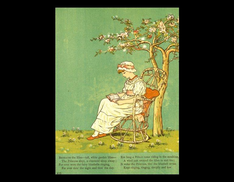 """Page 21, """"Beneath the lilies;tall, white garden lilies; the Princess slept, a charmed sleep away…"""" In Greenaway, Kate, 1846-1901. Under the window: pictures & rhymes for children. London, New York: George Routledge & Sons, 1879. Rare Books. Call No. PZ8.3.G75 U53 1879, IML 986150."""