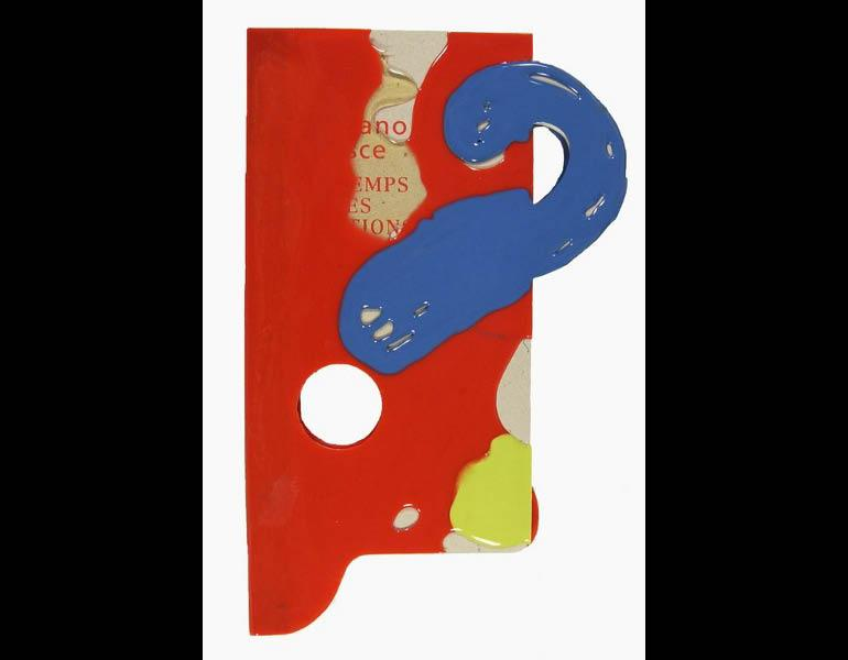 The exhibition catalog for Gaetano Pesce is bound in the free-form shape of vinyl incorporating a question mark reflecting the subtitle, Les temps des questions. Call number: N6923.P39 A4 1996