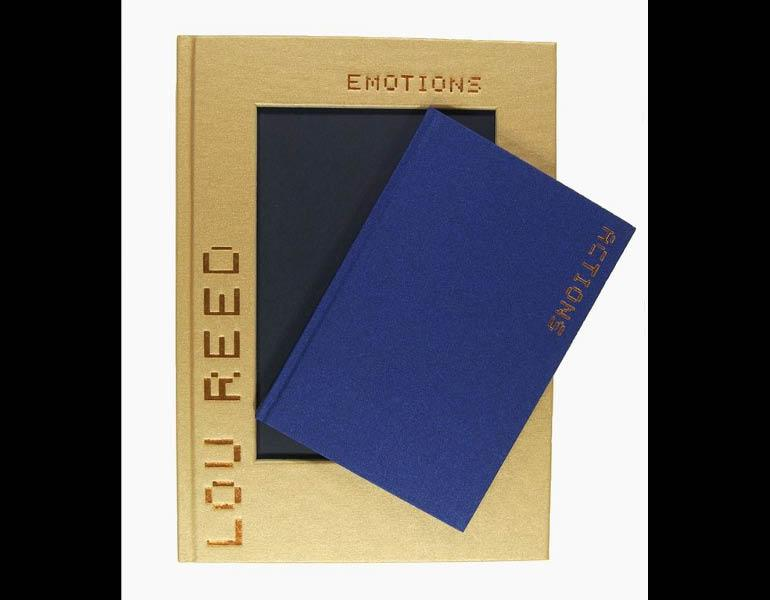 """This example displays a two-volume set with the smaller-sized book (titled Actions) fitted into a larger-sized book (titled Emotions), expressing the photographer, Lou Reed's, philosophy of living life, as """"emotion in action."""" Call number: N8217.E53 R44 2003"""