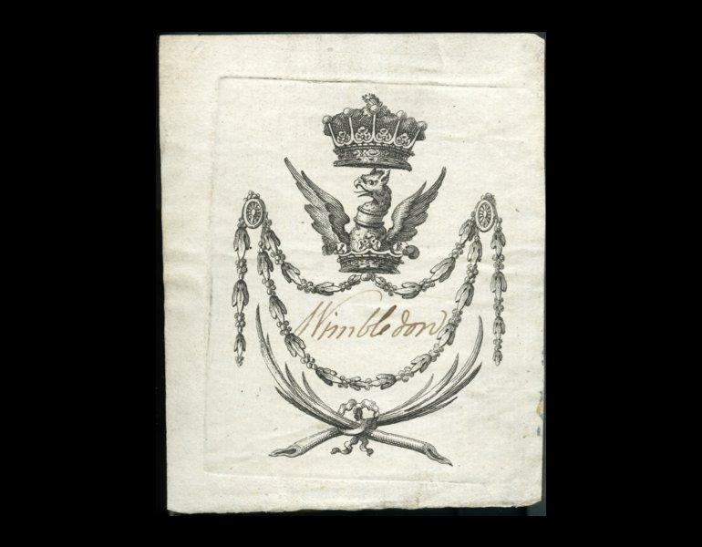 Bookplate of Wimbledon, date and artist unknown.