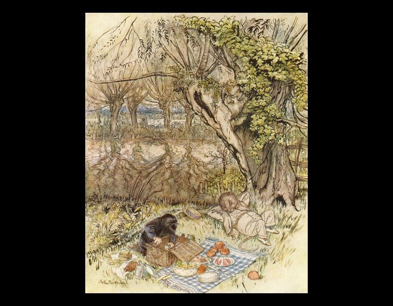 """Page 23, """"The Mole begged as a favor to be allowed to unpack it all by himself; and the Rat was very pleased to indulge him."""" In Grahame, Kenneth, 1859-1932. The wind in the willows. New York: Limited Editions Club, 1940. Rare Books. Call No. NC242.R33 G73 1940, IML 986147."""
