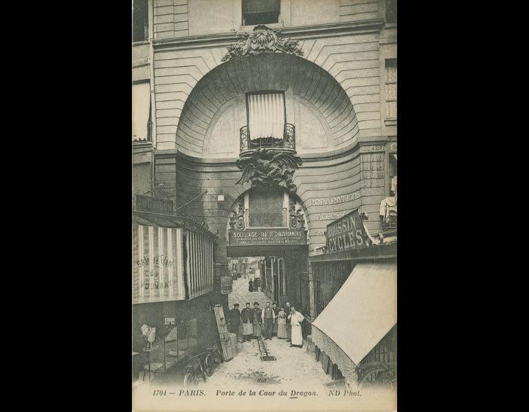 Old streets in the heart of Paris, via postcard: Port de la Cour du Dragon. Paris. IML 958790