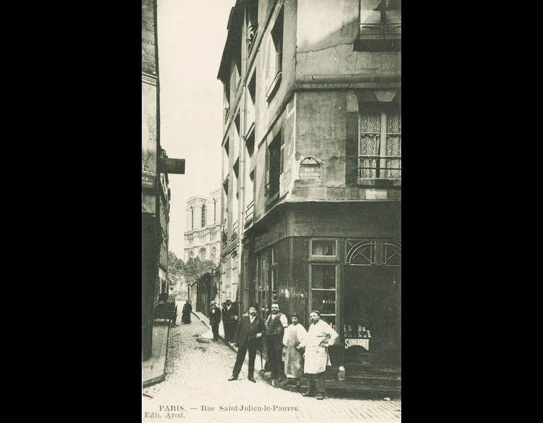 Old streets in the heart of Paris, via postcard: Rue Saint-Julien-le-Pauvre. Paris. IML 958791