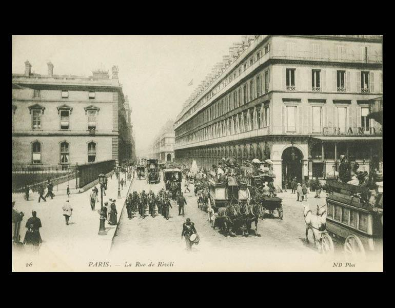 Grand boulevards in Paris. Places of commerce and promenade, via postcard: La Rue de Rivoli. Paris. IML 958792