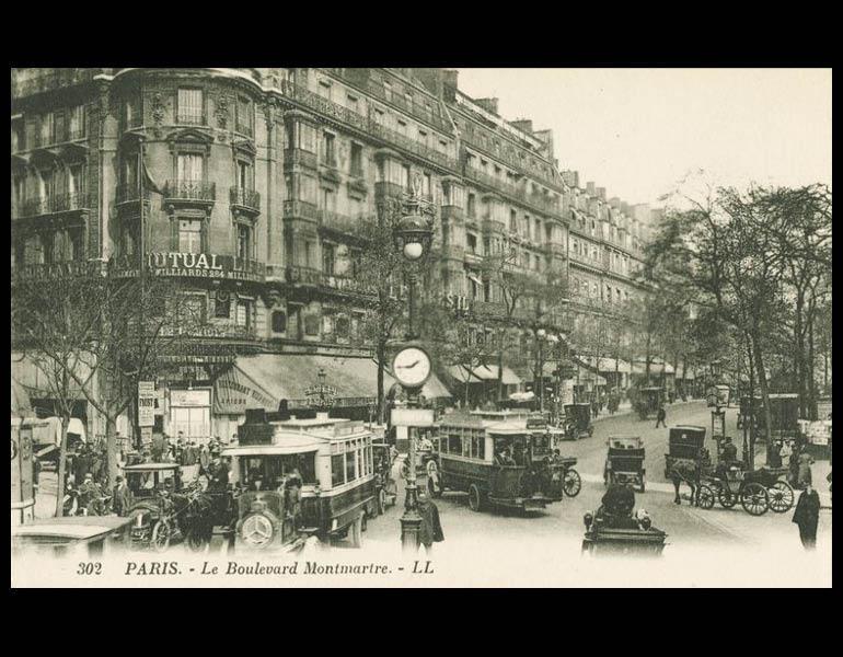 Grand boulevards in Paris. Places of commerce and promenade, via postcard: Le Boulevard Montmartre. Paris. IML 958793