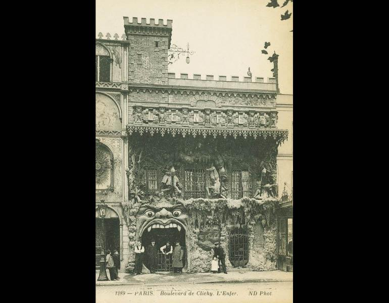 """Unusual attractions included """"ghost show"""" cabarets and underground tours, via postcard: Boulevard de Clichy. L'Enfer. Paris. IML 958796"""