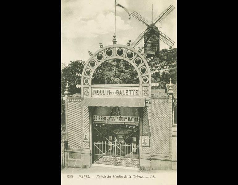 """Unusual attractions included """"ghost show"""" cabarets and underground tours, via postcard: Entrée du Moulin de la Galette. Paris. IML 958795"""