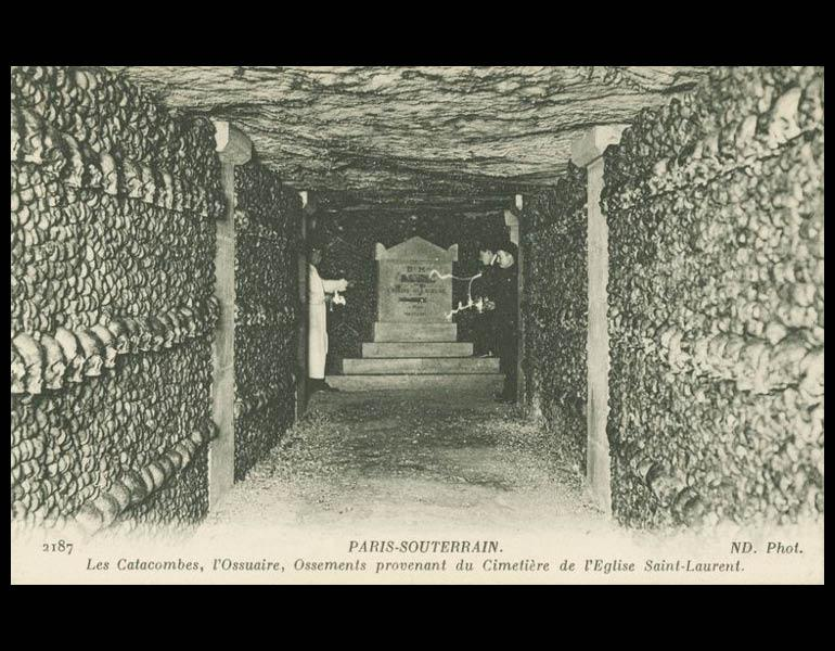 """Unusual attractions included """"ghost show"""" cabarets and underground tours, via postcard: Paris-Souterrain. Les Catacombes, l'Ossuaire, Ossments provenant du Cimetière de l'Eglise Saint-Laurent. IML 958797"""