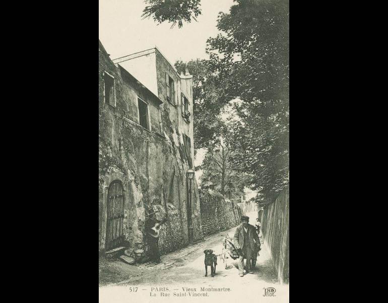 Old Montmartre, home to many artists, via postcard: Vieux Montmartre. La Rue Saint-Vincent. Paris. IML 958799