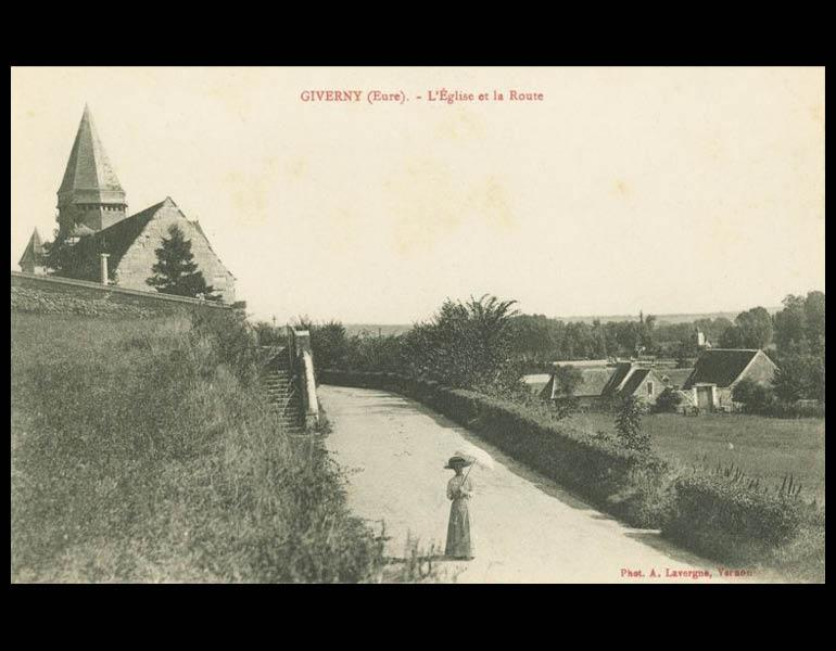 Giverny, home to Monet and bucolic landscape to many painters, via postcard: L'Eglise et la Route. Giverny. IML 958803