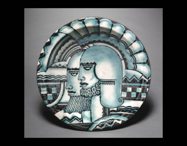 Viktor Schreckengost (American, 1906-2008). Warrior Heads Plaque (Plaque, No. 5), 1932. Ceramic. Hinman B. Hurlbut Collection 1931.1760
