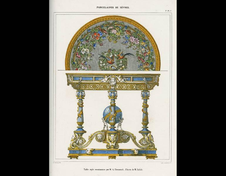 Sèvres. Renaissance-style table, Description Methodique du Museé Céramique de la Manufacture Royale de Porcelaine de Sèvres