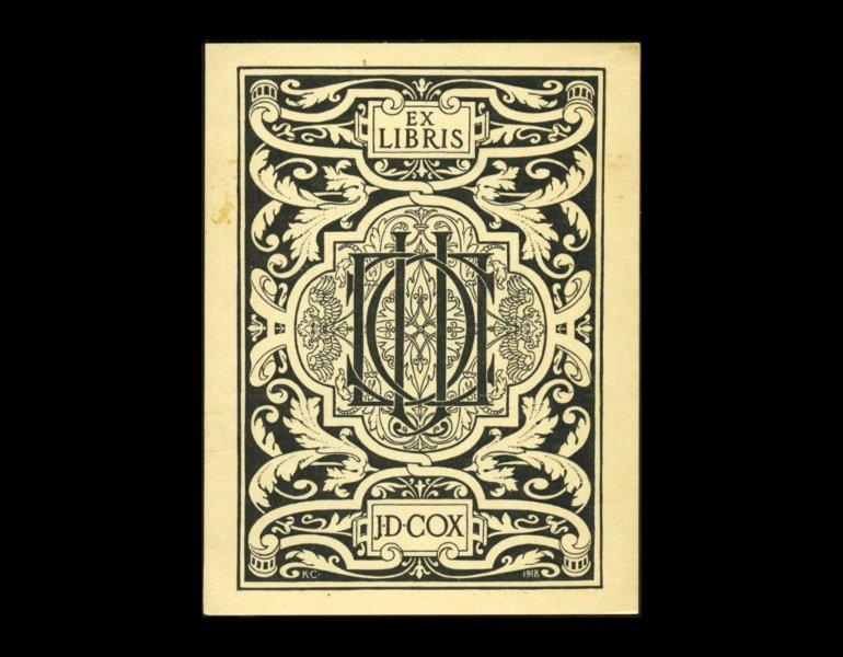Bookplate of J.D. Cox, 1918, by Kenyon Cox. Gift of S. Houghton Cox. Completed during the last year of the artist's life.