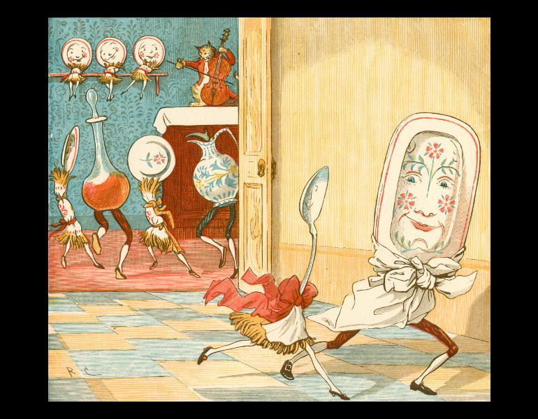 """Hey Diddle Diddle,"" page 10: ""And the dish ran away with the spoon."" In Caldecott, Randolph, 1846-1886. R. Caldecott's second collection of pictures and songs. London, New York: Frederick Warne and Co., [n.d.]. Rare Books. Call No. PZ8.3 .C127 1887, IML 986143."