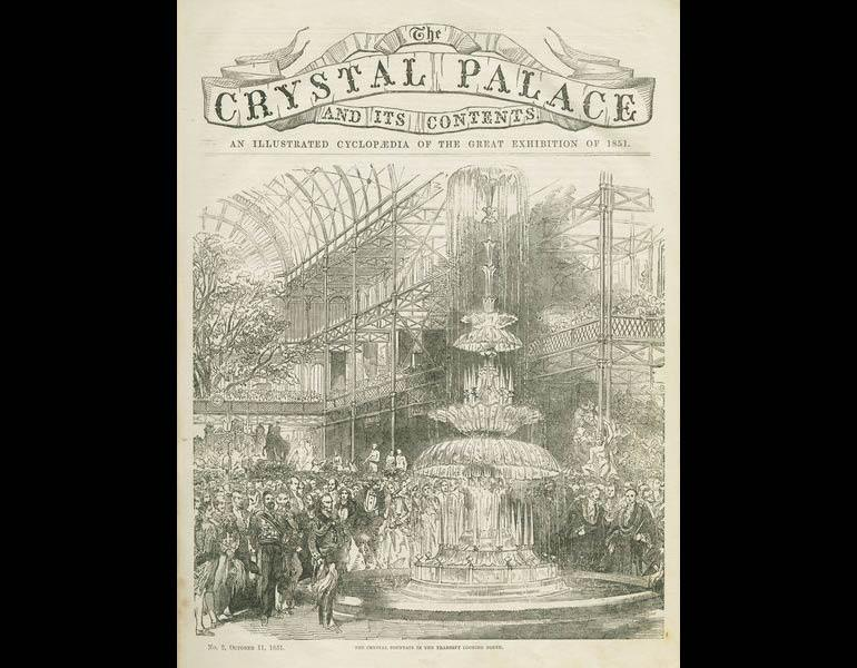 Crystal Fountain in the transept looking north. The Crystal Palace and its Contents... p. 17. IML 971858