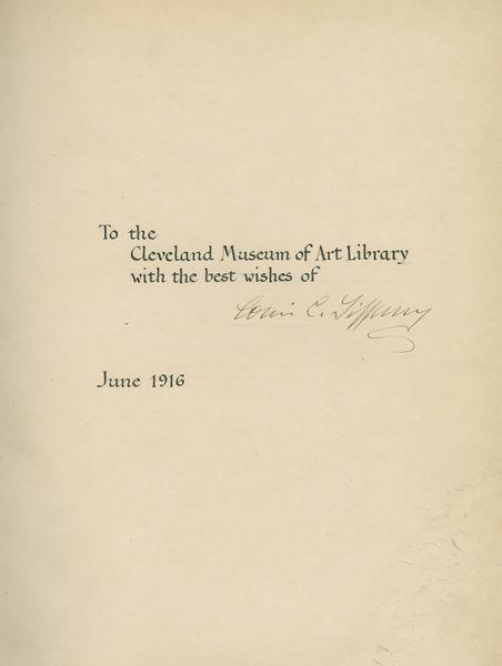 The Art Work of Louis C Tiffany , dedication to the Cleveland Museum of Art Library.