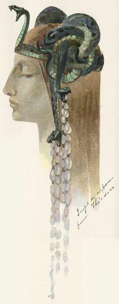 """Projet de coiffure pour Théodora, p. 187. Geffroy, Gustave. """"De Bijou: A Propos de M. René Lalique."""" Art et Décoration: Revue Mensuelle D'Art Moderne. Vol. XVIII. July - December 1905."""