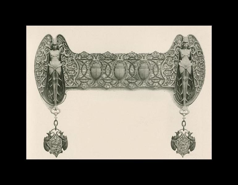 """Devant de corsage, p. 13. Marx, Roger. """"René Lalique: Le Maitres Décorateurs Français."""" Art et Décoration: Revue Mensuelle D'Art Moderne. Vol. V. January - June 1899."""