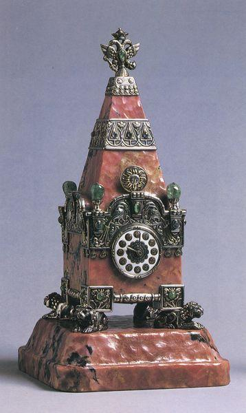 """Kremlin Tower Clock, p. 103. Hawley, Henry, """"India Early Minshall: Portrait Sketch of a Russophile,"""" in Fabergé in America, ed. Géza von Habsburg (New York: Thames and Hudson, 1996)."""