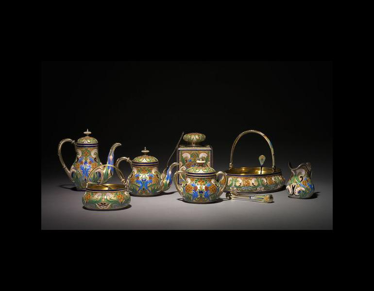 Peter Carl Fabergé (Russian, 1846-1920). Tea Service, 1896. Silver gilt, opaque cloisonne enamel; 11 components. The India Early Minshall Collection. 1966.500.