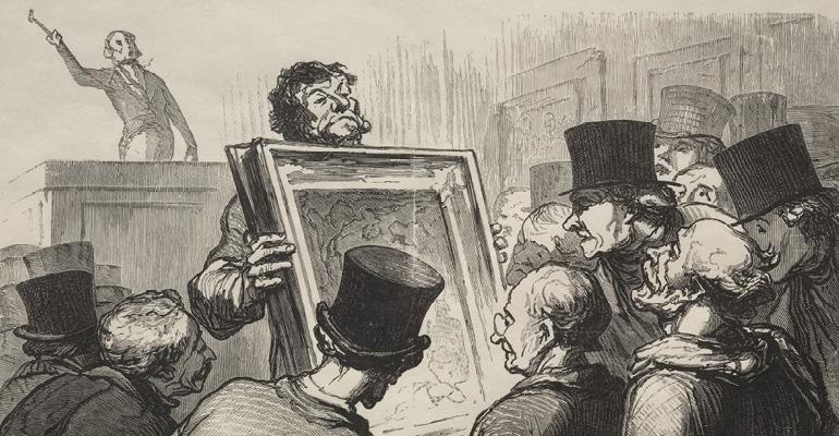 """Hotel Bouillon: Picture Enthusiasts."" Honoré Daumier (French, 1808-1879). Wood engraving. Gift of Ralph King 1921.1481."