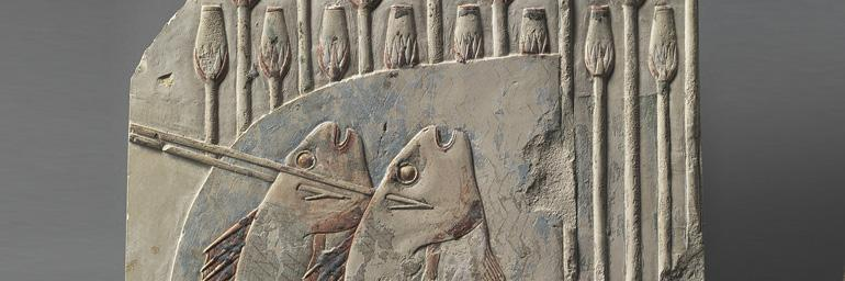 Spearing Fish (detail), c. 667-647 BC.Egypt, Thebes, Late Period. Limestone;26.4 x 25.8 cm. Gift of the Hanna Fund 1949.499