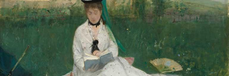 Reading (detail), 1873. Berthe Morisot (French, 1841-1895). Oil on fabric; 46.0 x 71.8 cm. Gift of the Hanna Fund 1950.89