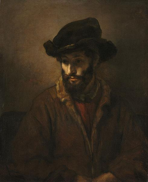 A Bearded Man Wearing a Hat, c. 1650–1660. Studio of Rembrandt van Rijn (Dutch, 1606–1669). Oil on canvas; 84.5 x 69.2 cm. Gift of the Hanna Fund 1950.252