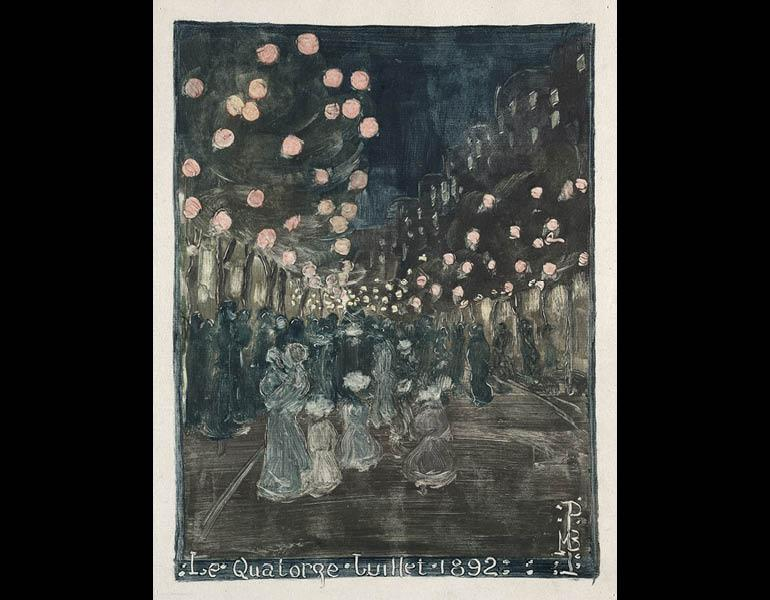 Bastille Day, 1892. Maurice Prendergast (American, 1858–1924). Monotype; 30.5 x 24.8 cm. The Cleveland Museum of Art, Gift of the Print Club of Cleveland 1954.337.