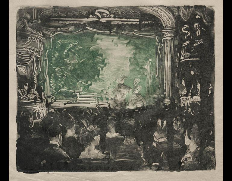 The Theater, 1909. John Sloan (American, 1871–1951). Monotype; 27.3 x 27 cm. The Cleveland Museum of Art, Gift of Mr. and Mrs. Ralph L. Wilson in memory of Anna Elizabeth Wilson 1961.162.