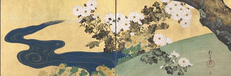 Paulownias and Chrysanthemums (桐菊流水図屏風) (detail)