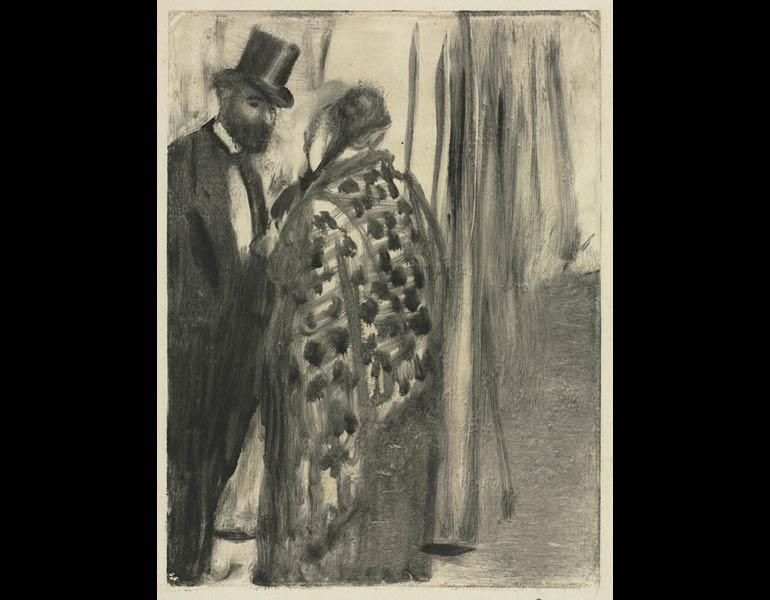 Conversation: Ludovic Halévy and Madame Cardinal (The Conversation) for La Famille Cardinal by Ludovic Halévy, about 1880–83. Edgar Degas (French, 1834–1917). Monotype; 25.5 x 17.8 cm. The Cleveland Museum of Art, Gift of the Print Club of Cleveland in ho