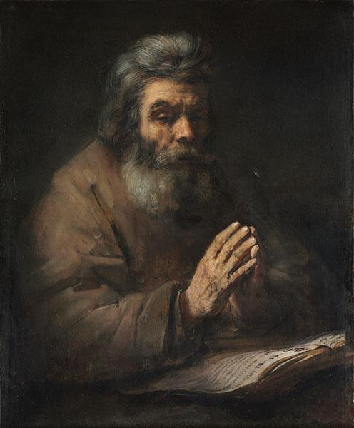 An Elderly Man in Prayer, 1660s or later. Follower of Rembrandt van Rijn (Dutch, 1606–1669). Oil on canvas; 87.3 x 72.0 cm. Leonard C. Hanna Jr. Fund 1967.16