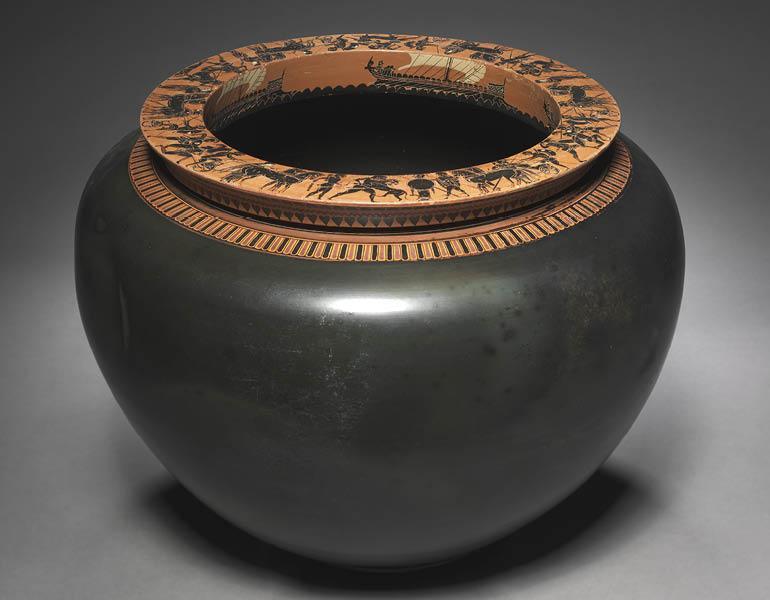 Dinos, c. 520–515 BC. Circle of the Antimenes Painter (Greek, Attic). Black-figure terracotta; d. 50.8 cm, h. 33.6 cm. John L. Severance Fund 1971.46.