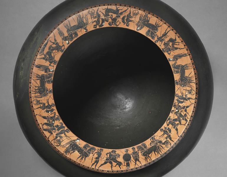 Dinos (detail), c. 520–515 BC. Circle of the Antimenes Painter (Greek, Attic). Black-figure terracotta; d. 50.8 cm, h. 33.6 cm. John L. Severance Fund 1971.46.