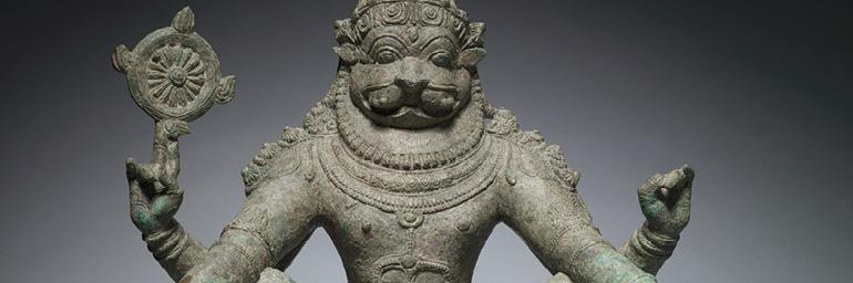 Yoga Narashimha, Vishnu in His Man-Lion Avatar (detail), c. 1250. South India. Bronze; h. 55 cm. The Cleveland Museum of Art, Gift of Dr. Norman Zaworski 1973.187