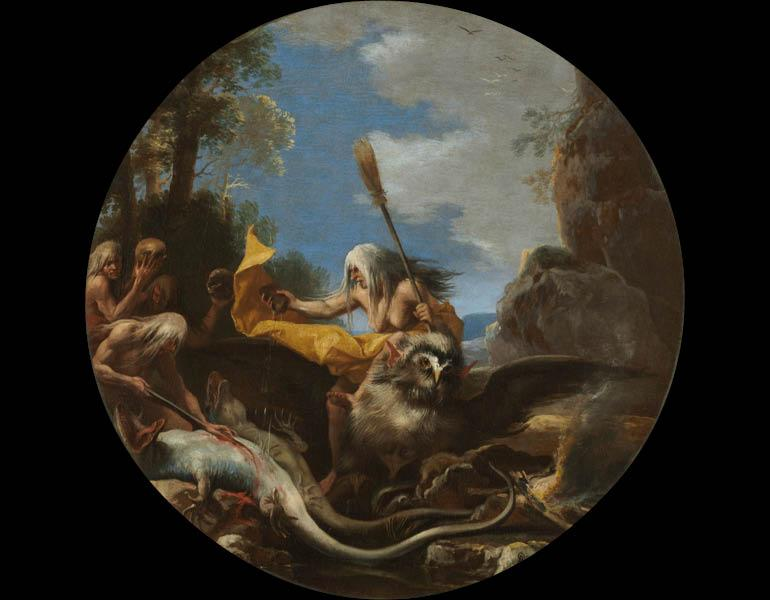 Scene with Witches: Day, 1645–1649. Salvator Rosa (Italian, 1615-1673). Oil on canvas; w: 54.5 cm. Purchase from the J. H. Wade Fund 1977.37.2