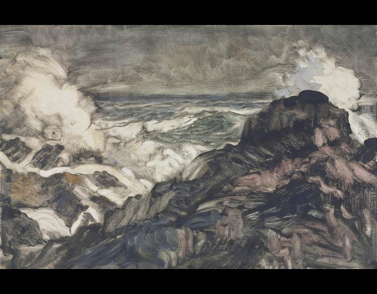 Seascape, about 1920. Paul Dougherty (American, 1877–1947). Monotype with watercolor; 25.9 x 40 cm. The Cleveland Museum of Art, Gift of Mr. and Mrs. Joseph T. Meals 1981.215.