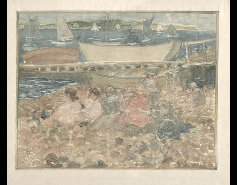 Shipyard: Children Playing, 1900–1902. Maurice Prendergast (American, 1858–1924). Monotype; 20 x 25.3 cm. The Cleveland Museum of Art, Mr. and Mrs. Charles G. Prasse Collection 1982.166.