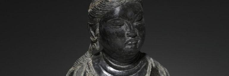 Bodhisattva (detail). China, Tang dynasty (618-907). Dry lacquer; 44 x 37 cm. Given in memory of Howard Parmelee Eells, Jr. by his wife, Adele Chisholm Eells 1983.86