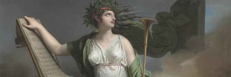 Calliope, Muse of Epic Poetry (detail), 1798. Charles Meynier (French 1768–1852). Oil on canvas; 275 x 177 cm. The Cleveland Museum of Art, Severance and Greta Millikin Purchase Fund 2003.6.4