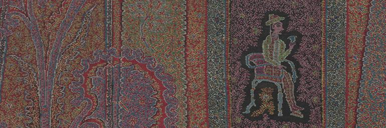 Long Shawl with Woven Figures and Animals (detail), c. 1885. India, Kashmir. Goat-hair wool; 354.3 x 141.6 cm. Gift of Arlene C. Cooper 2006.200
