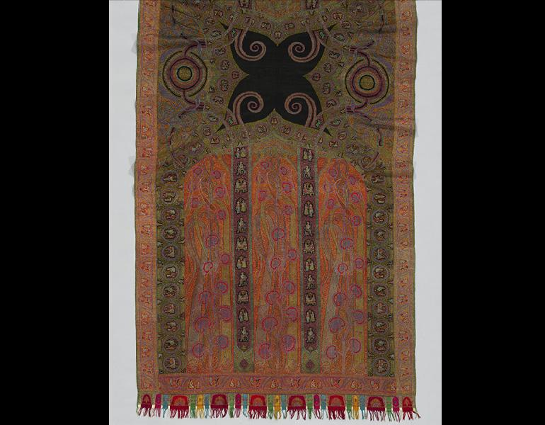 Long Shawl with Woven Figures and Animals, c. 1885. India, Kashmir. Goat-hair wool; 354.3 x 141.6 cm. Gift of Arlene C. Cooper 2006.200