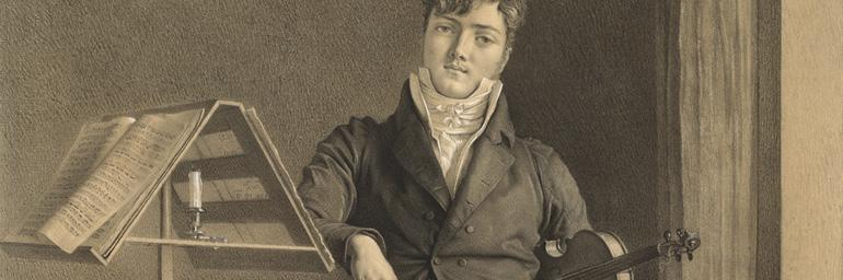 Portrait of Violinist Jean Vidal (1789–1867) (detail), 1808. Adrien Victor Auger (French, 1787–1854). Black and gray chalk, with touches of white chalk; 75.4 x 54.1 cm (36 x 25 3/8 in.). The Cleveland Museum of Art, John L. Severance Fund 2013.47.