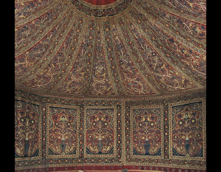 Royal Round Tent Made for Muhammad Shah (ruled 1834–48). Iran, Rasht, Qajar period (1779–1925). Interior: Plain weave: inlaid work, wool; embroidery: chain stitch, silk; tape, leather, rope. Exterior: Plain weave: cotton; iron ring, rope; h: 360 cm, diam: 400 cm. The Cleveland Museum of Art, Purchase from the J. H. Wade Fund