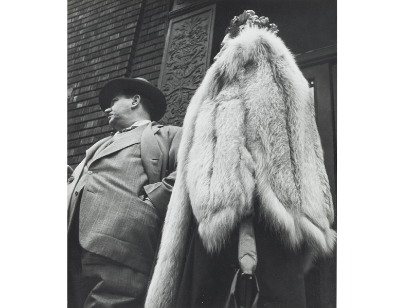 """""""Man in Suit, Woman in Fur Coat"""" Leon Levinstein CMA, 2014.482"""