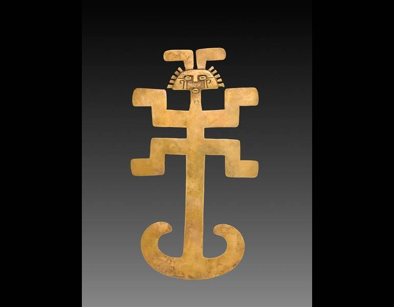 Figural Pendant, AD 1–800. Isthmian Region (Colombia), Tolima region. Gold, cast and hammered; 29.4 x 16.2 x 1 cm. Severance and Greta Millikin Fund 2015.1.