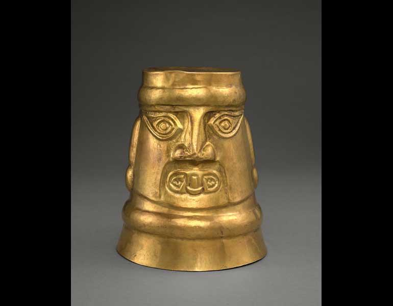 Head Beaker, 900–1100. Central Andes (Peru), Lambayeque (Sicán) people. Gold, hammered; 23.5 x 19.8 cm. Severance and Greta Millikin Fund 2015.6.