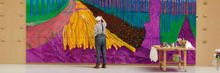 "Exhibition on Screen: David Hockney at the Royal Academy of Art. David Hockney Painting ""Winter Timber"" in Bridlington, July 2009 © David Hockney Photo Credit: Jean-Pierre Gonçalves de Lima"